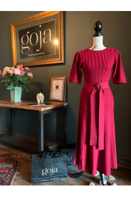 Belted Dress Red
