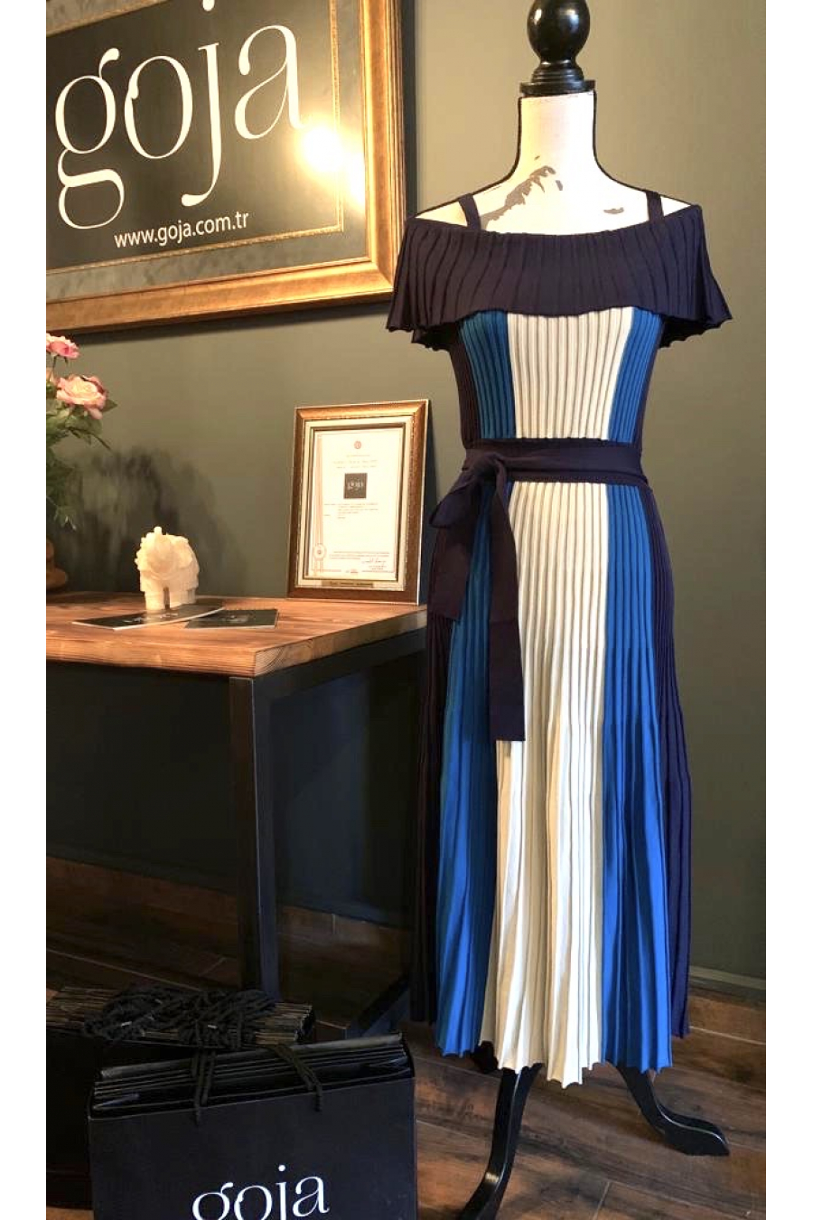 Three Color Off Shoulder Dress Blue