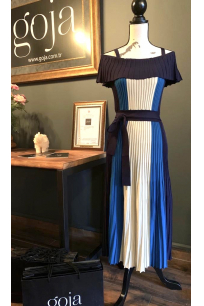 Three Color Off Shoulder Dress Blue