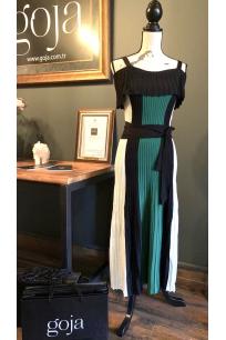 Three Color Off Shoulder Dress Green