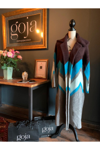 Zigzagged Cardigan Brown
