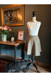 V Pattern Skirt Khaki