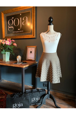 V Pattern Skirt Khaki