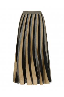 Three Color Maxi Skirt Black