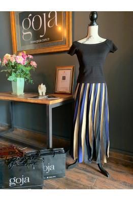 Three Color Maxi Skirt Navy