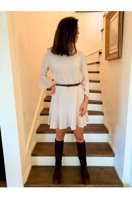 Flounced Dress Cream
