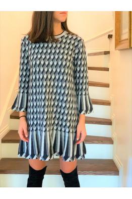 Flounced Dress Coral/Cream