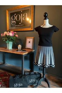 Zigzagged Mini Skirt Black