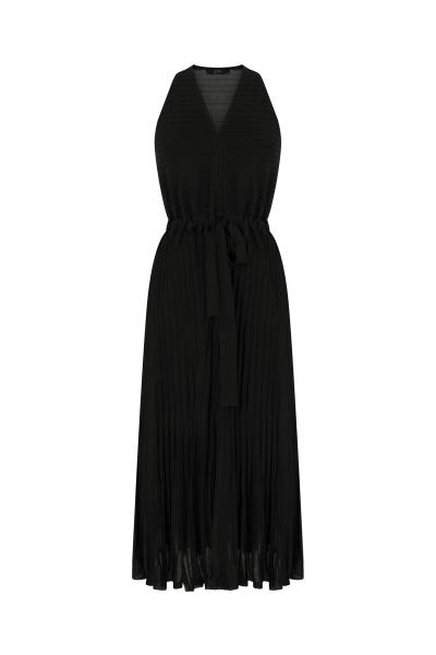 Pleated V Neck Dress Black