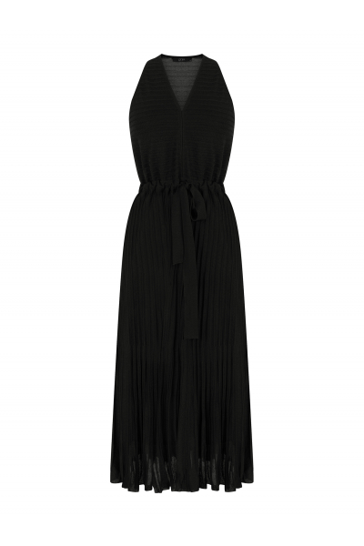 Pleated V Neck Dress Black