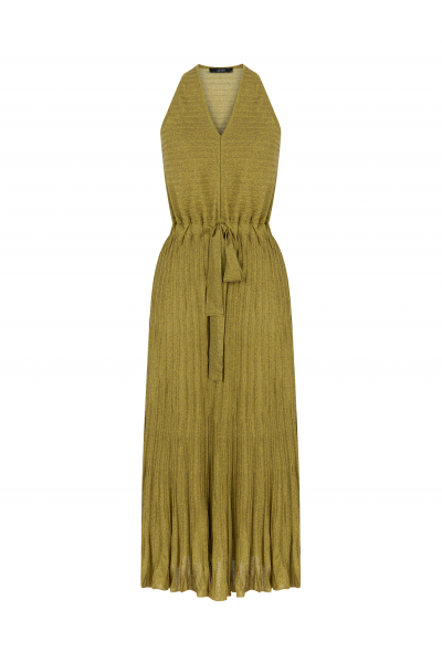 Pleated V Neck Dress Acid Green