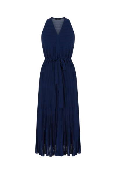 Pleated V Neck Dress Navy