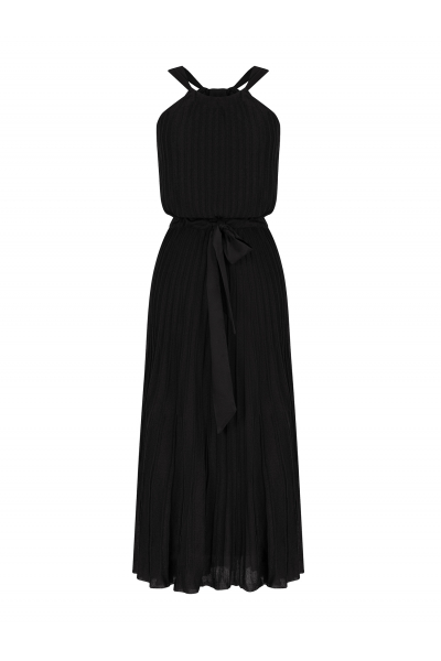 Pleated Bowtie Dress Black