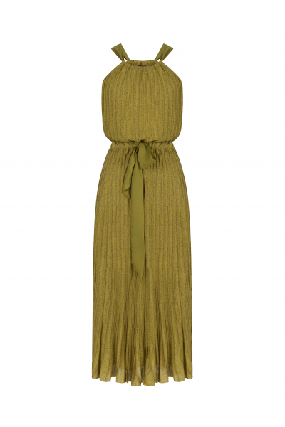 Pleated Bowtie Dress Acid Green