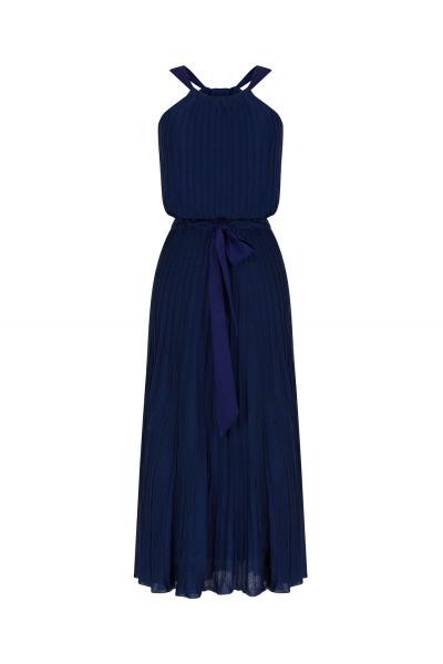 Pleated Bowtie Dress Navy
