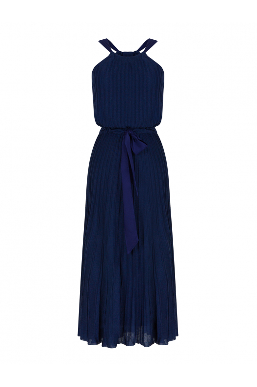 Pleated Bowtie Dress Navy
