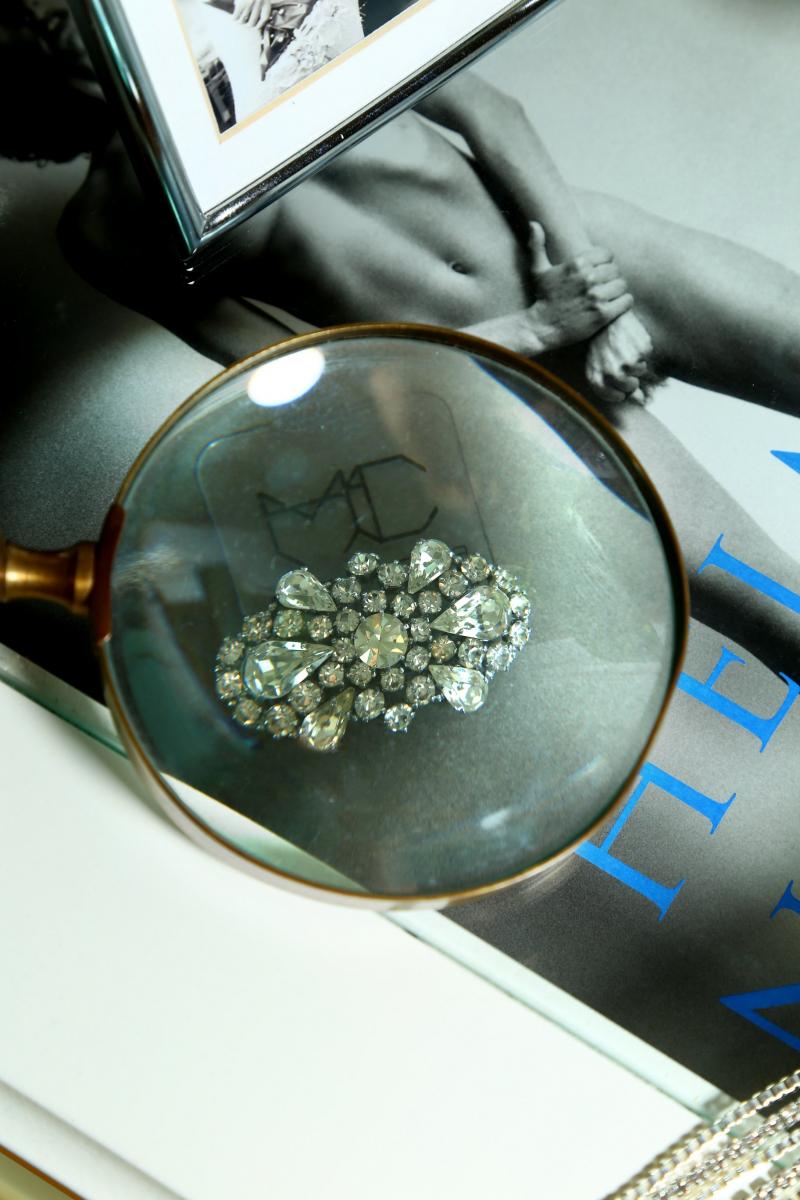 Brooch -  50's Vintage -Bracelet  Crystal - Gold Plated