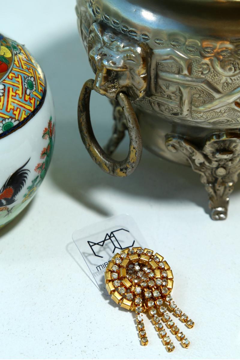 Earring Vintage 70's  & Brooch Vintage 40's  -  Gold Plated - Kristal