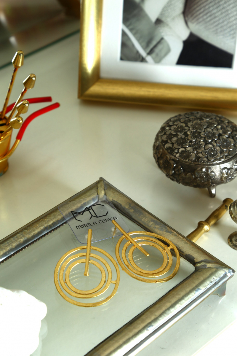 Earring -  Circle Circle - Gold Plated