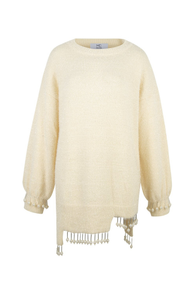 Sweater  Long With Pearl Details - Ivory White Sweater  Long With Pearl Details - Ivory White