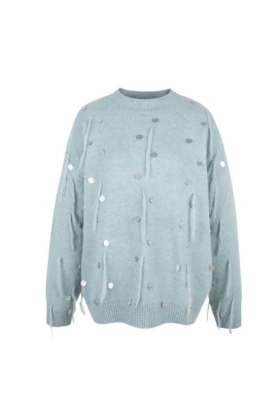Sweater  Silver Details - Light Blue Sweater  Silver Details - Light Blue