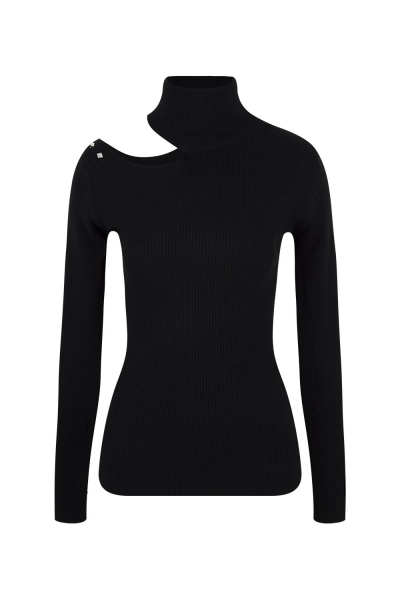 Sweater - With Open Shoulder Strass Details - Black - White Sweater - With Open Shoulder Strass Details - Black - White