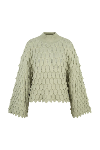 Sweater  - 'Fish Scale' - Cashmere Blend - Bamboo Green/Beige/Black Sweater  - 'Fish Scale' - Cashmere Blend - Bamboo Green/Beige/Black