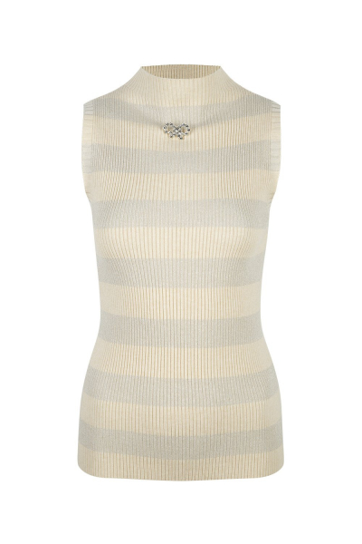Sweater Sleeveless With Strass Details - Cream - Pistachio Green Sweater Sleeveless With Strass Details - Cream - Pistachio Green