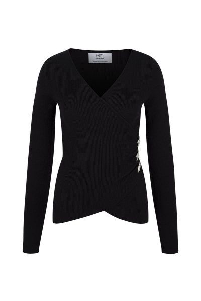 Sweater  With Strass Details White/Black Sweater  With Strass Details White/Black