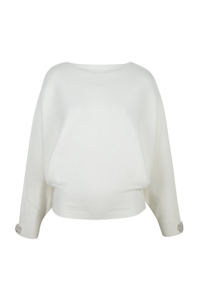 Sweater  With Strass Details - White - Black Sweater  With Strass Details - White - Black