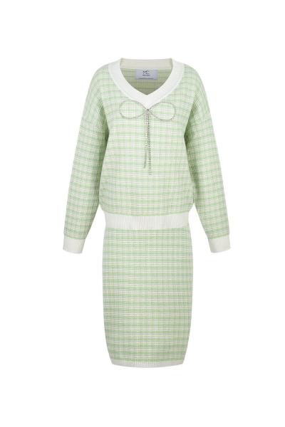 Set - Iconic - Tweed Knit &  Skirt - Strass Details Set - Iconic - Tweed Knit &  Skirt - Strass Details