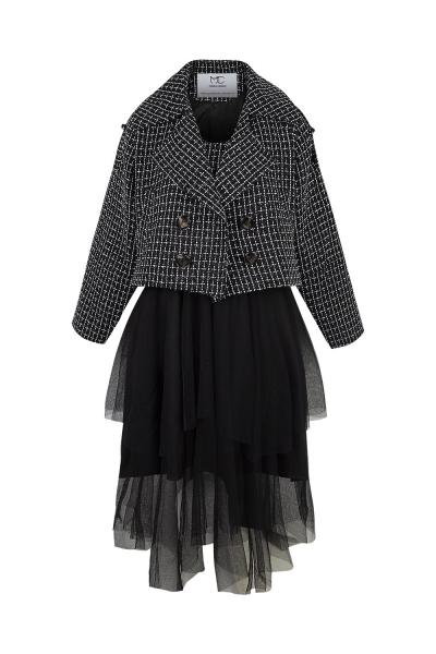 Set -Tweed -Jacket & Skirt- Tulle  - Black Set -Tweed -Jacket & Skirt- Tulle  - Black