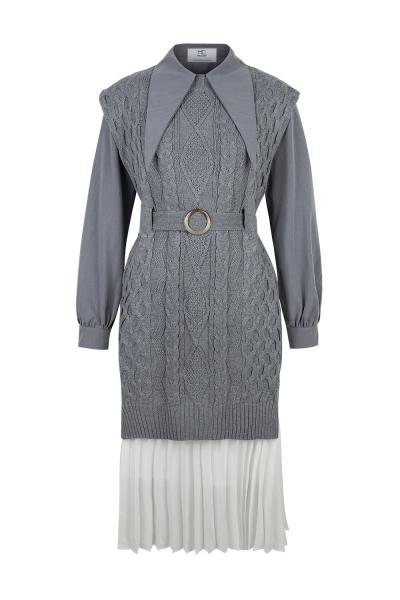 Set -Iconic -Knit Shirt Dress - Grey/Ciment Set -Iconic -Knit Shirt Dress - Grey/Ciment