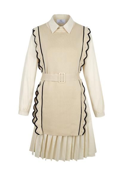 Set - Iconic - Knit Shirt Skirt - Beige Set - Iconic - Knit Shirt Skirt - Beige