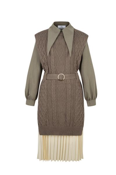 Set - Iconic -Knit Shirt Dress - Kaki Brown Set - Iconic -Knit Shirt Dress - Kaki Brown