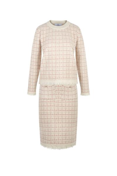 Set- Iconic -Tweed Knit &  Skirt-  Rose Set- Iconic -Tweed Knit &  Skirt-  Rose