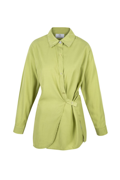 Shirt - Bamboo Green  & Strass  - Wrinkled Effect Shirt - Bamboo Green  & Strass  - Wrinkled Effect