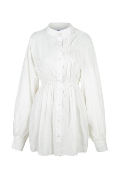 Shirt - Long - White  - Wrinkled Effect Shirt - Long - White  - Wrinkled Effect