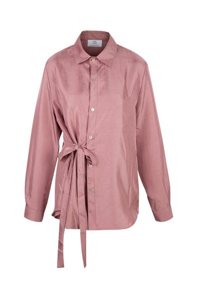 Shirt - Long -  Silk Blend - Rose  - Wrinkled Effect Shirt - Long -  Silk Blend - Rose  - Wrinkled Effect