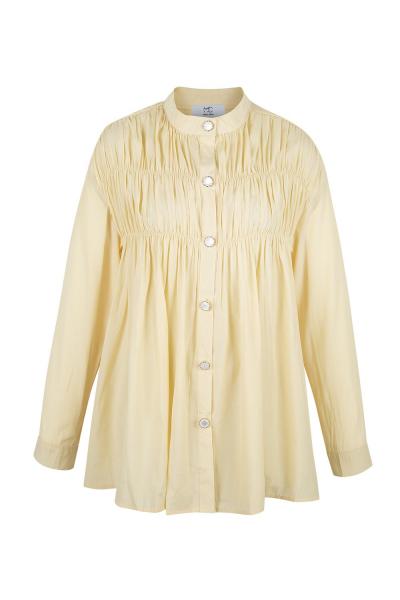 Shirt - Long - Silk Blend -Vintage Yelllow  - Wrinkled Effect Shirt - Long - Silk Blend -Vintage Yelllow  - Wrinkled Effect