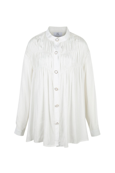 Kırışık Görünümlü - İpek Karışım - Fil Dişi Gömlek Kırışık Görünümlü - İpek Karışım - Fil Dişi Gömlek