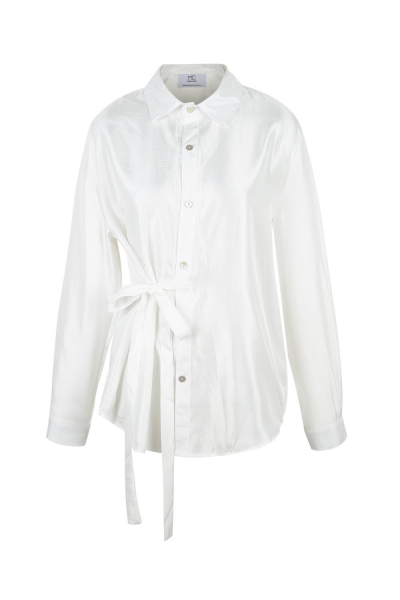 Shirt - Long - Silk Blend -Ivory  - Wrinkled Effect Shirt - Long - Silk Blend -Ivory  - Wrinkled Effect