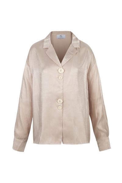 Shirt Silk Blended -Rose- Wrinkled Effect Shirt Silk Blended -Rose- Wrinkled Effect