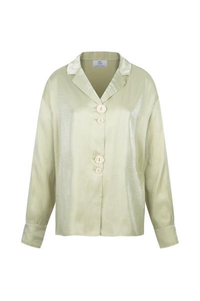 Shirt Silk Blended -Olive Green - Wrinkled Effect Shirt Silk Blended -Olive Green - Wrinkled Effect
