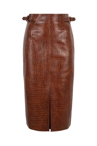 Skirt - Iconic - Pencil Pyton Print - Bordeaux Brown Skirt - Iconic - Pencil Pyton Print - Bordeaux Brown