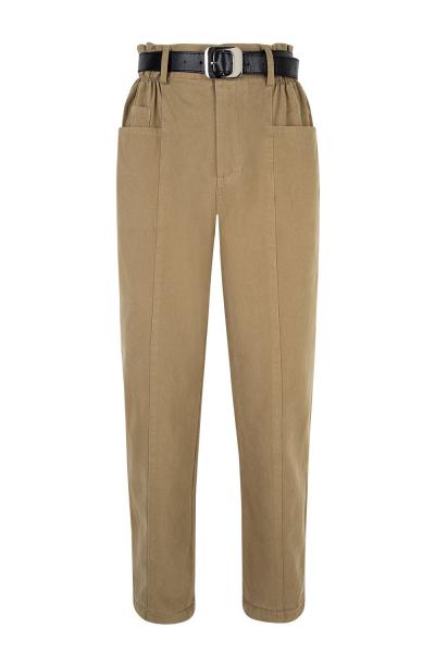 Pants & Belt Set- Gabardine - Paper Bag Style - Khaki Beige Pants & Belt Set- Gabardine - Paper Bag Style - Khaki Beige