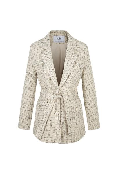 Blazer Jacket - Iconic - Tweed Jacket & Belt - Hong Kong Shooting- Ecru Blazer Jacket - Iconic - Tweed Jacket & Belt - Hong Kong Shooting- Ecru