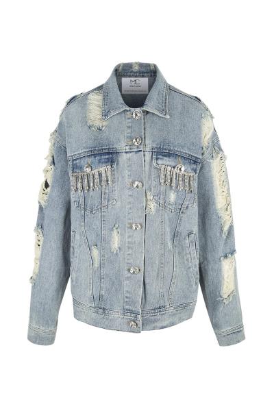 Denim Jacket - Blue With Strass Details Denim Jacket - Blue With Strass Details