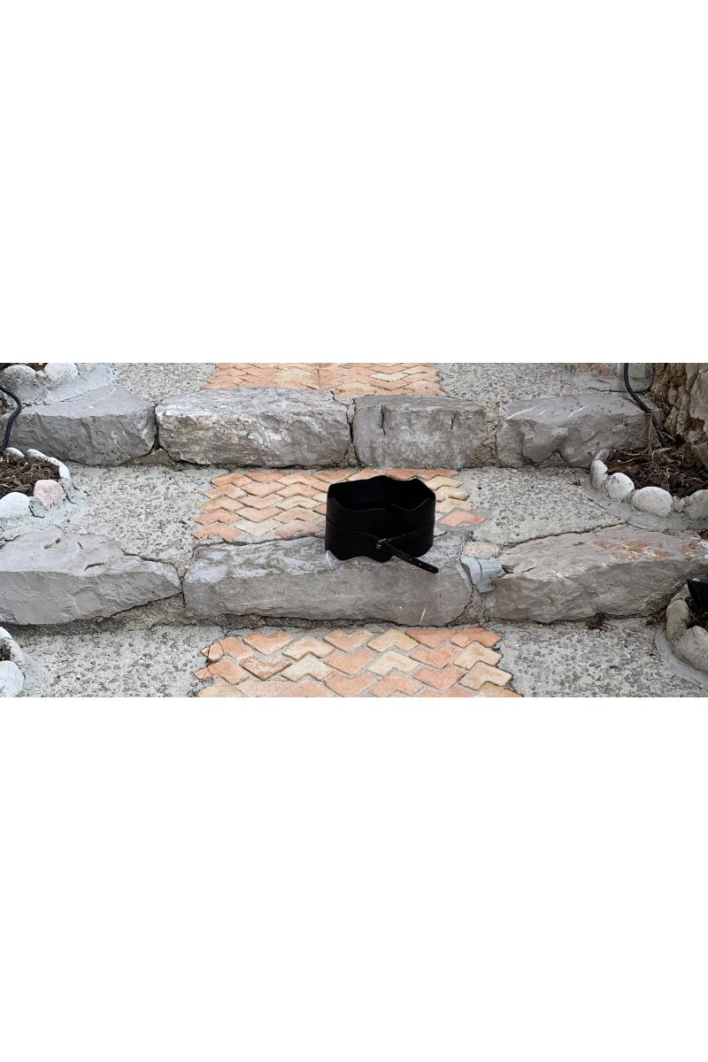 Belt - 'Taboo'  #01 - Thick Corset - White - Black - Terracotta  -  100% Leather