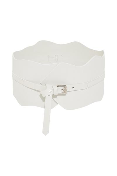 Belt - 'Taboo'  #01 - Thick Corset - White - Black - Terracotta  -  100% Leather Belt - 'Taboo'  #01 - Thick Corset - White - Black - Terracotta  -  100% Leather